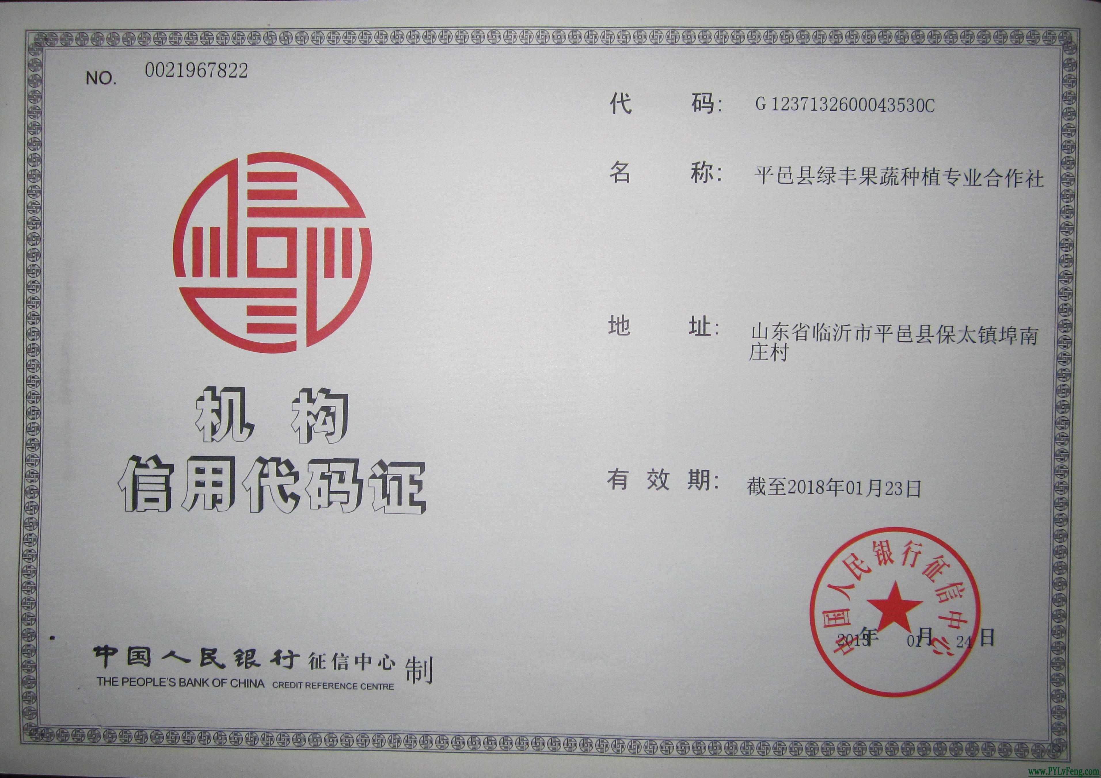 绿丰合作社机构信用代码证